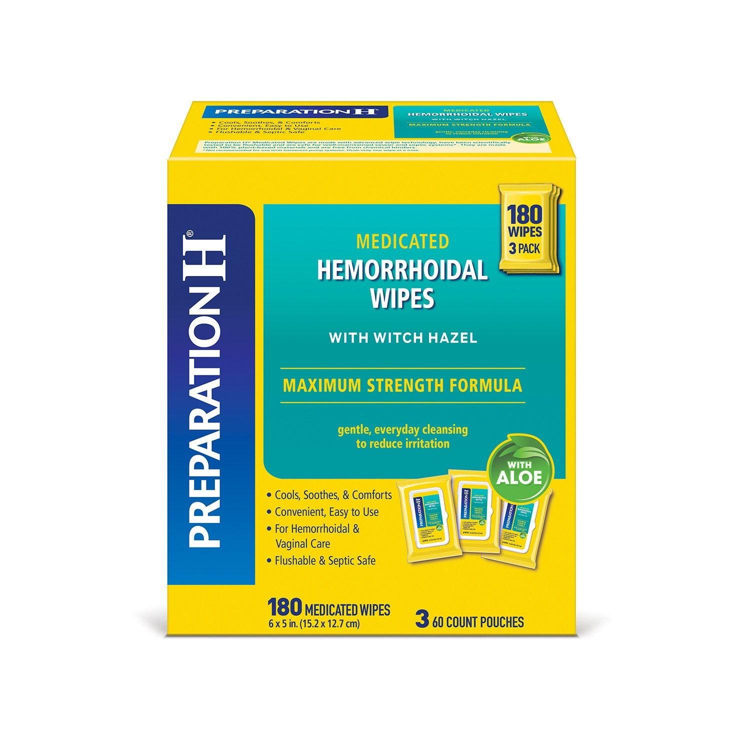 Preparation H Flushable Medicated Hemorrhoidal Wipes Pouch ...