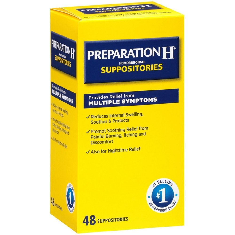 Preparation H Hemorrhoidal Suppositories 48 ea (Pack of 2 ...